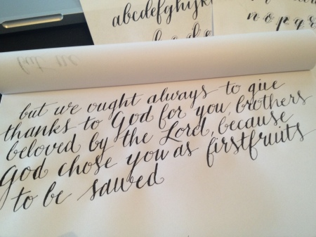 Modern Calligraphy practice, mistakes and all